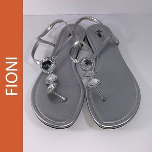 Fioni Rhinestone Ankle Strap Thong Sandals